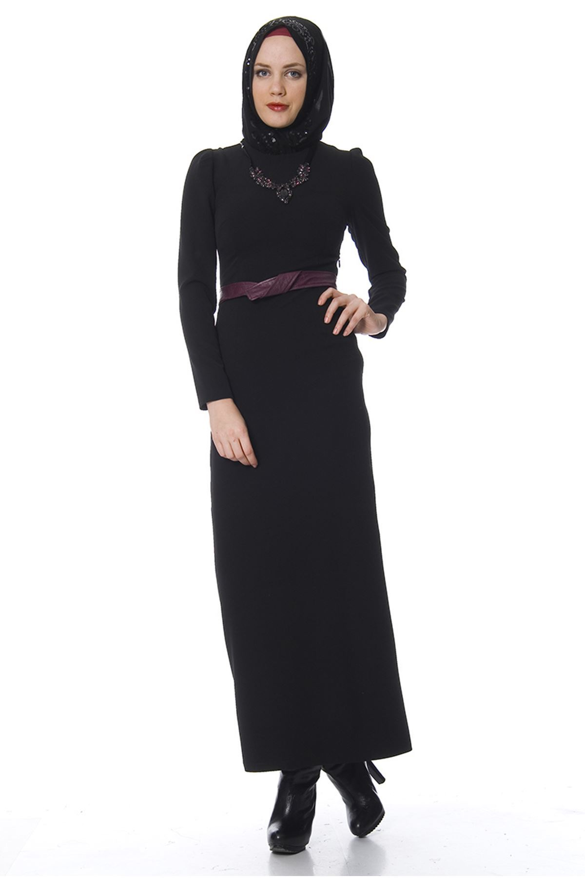 Aksesuar Yakalı Siyah Kadın Puane Elbise G10-100031