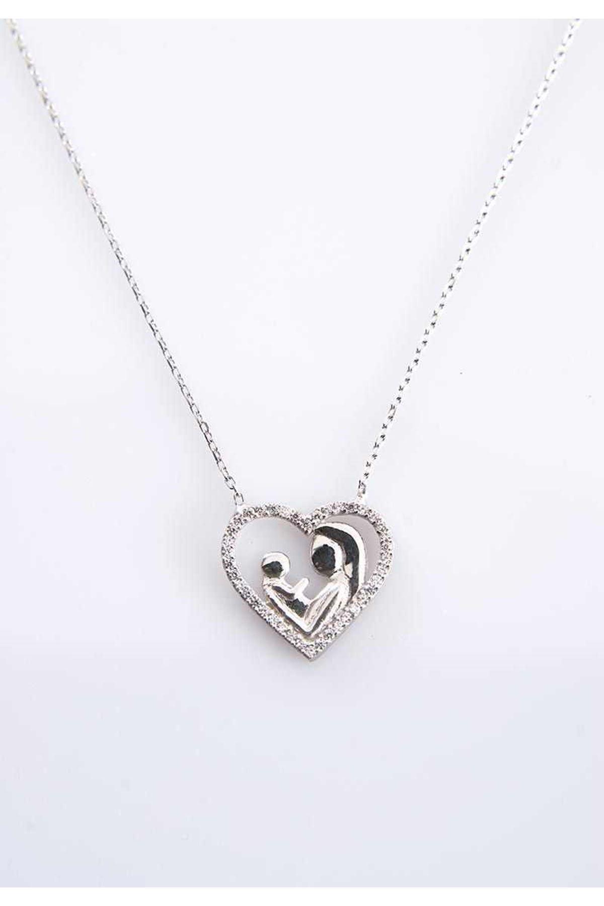Anne Çocuk Kalp Gümüş Kolye Gk-77404