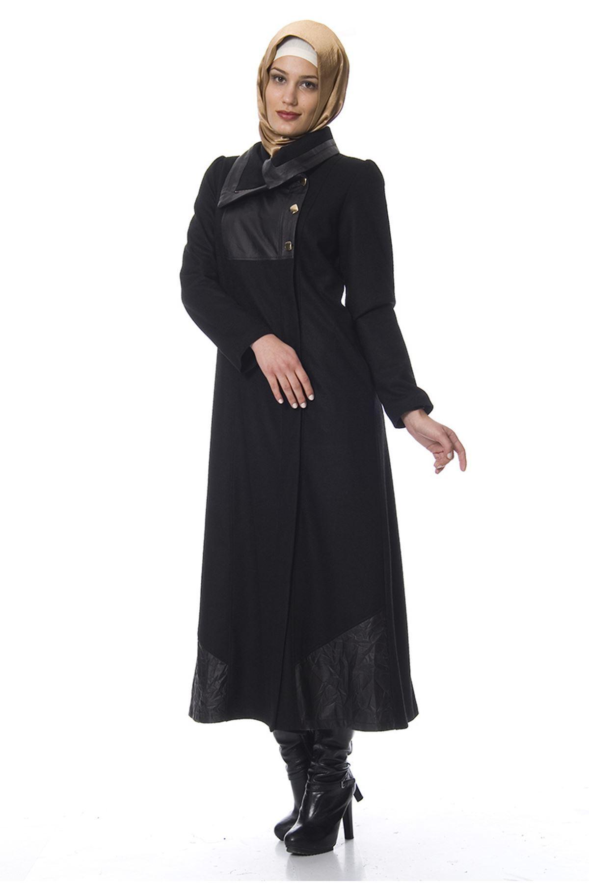 Astarlı Keçe Siyah Puane Pardesü K7-100059