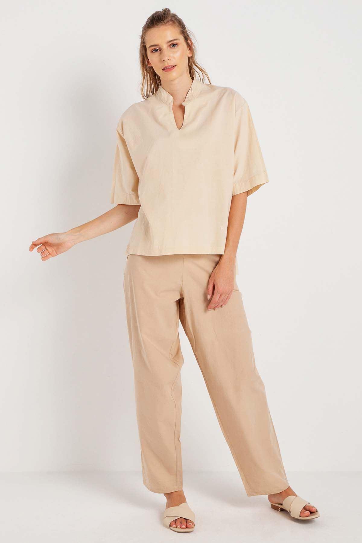 Bahar - V Yaka Yarım Kollu Bluz K1409