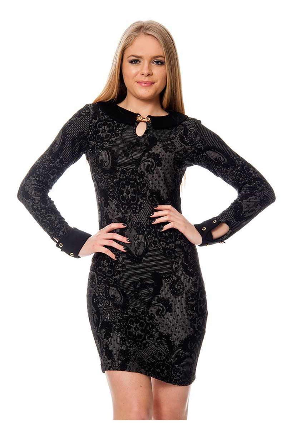Bebe Yaka Sırt Dekolteli Elbise D4-111516
