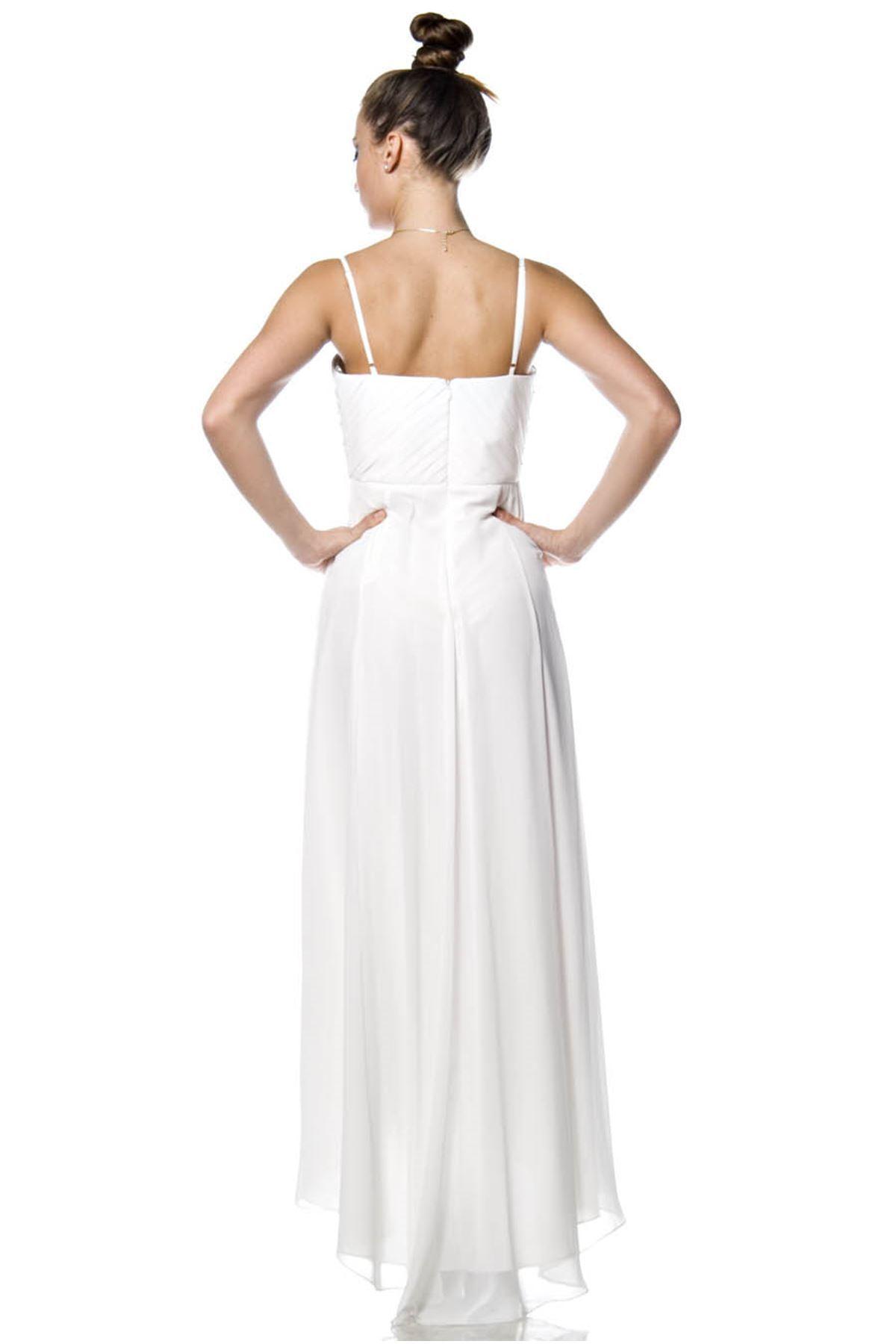 Beyaz İnci Aksesuarlı Şifon Abiye F1-44569