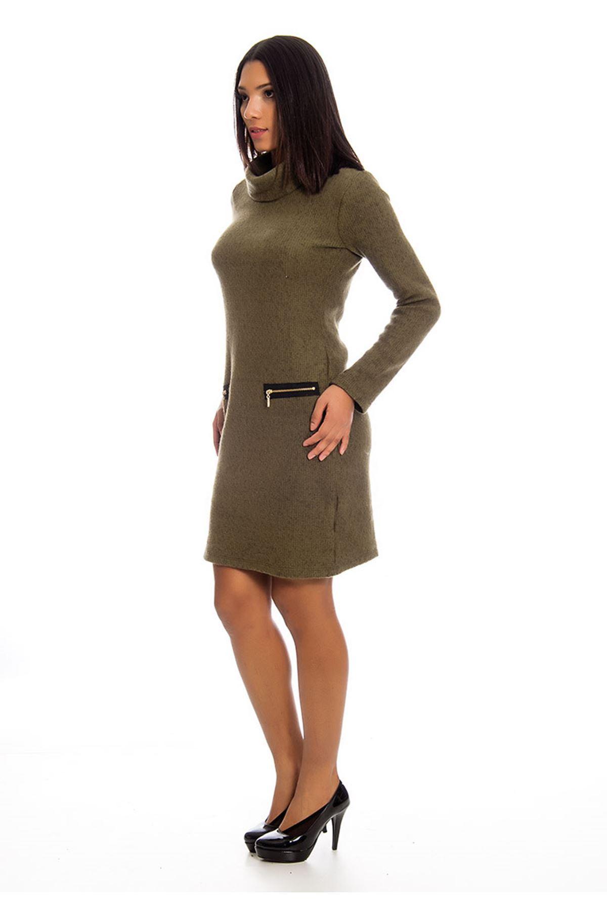 Boğazlı Yeşil Kadın Elbise K12-124049