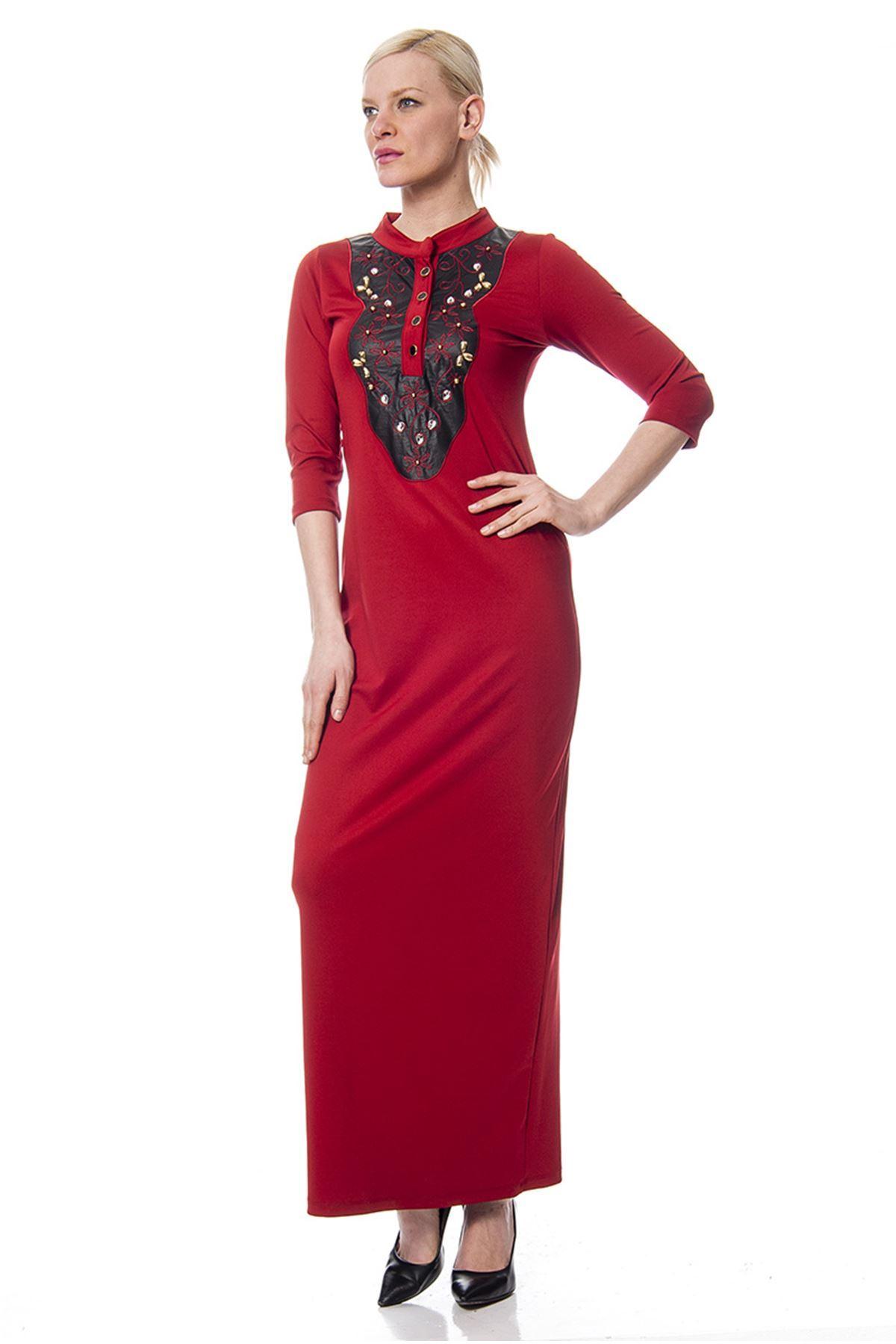 Bordo Deri Detaylı Elbise H8-113436