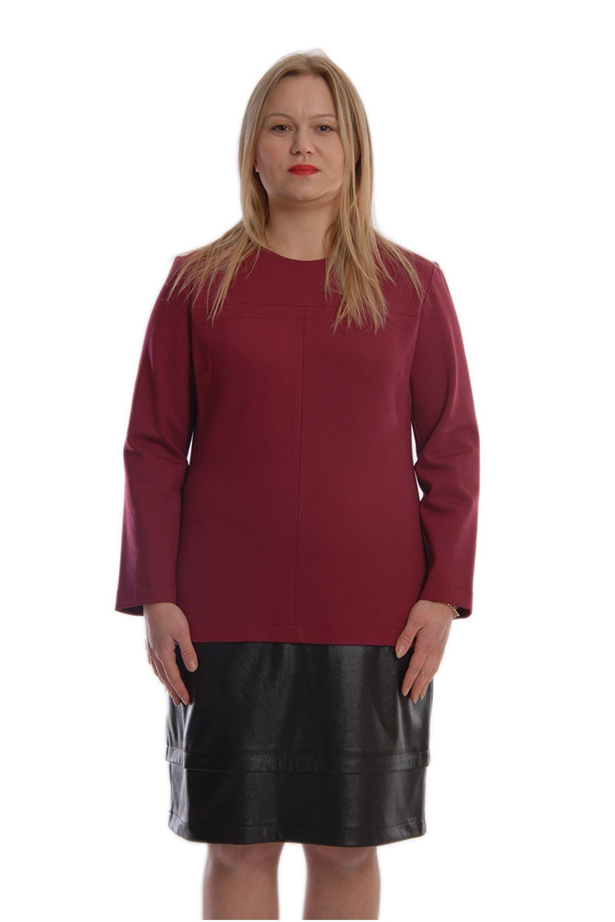 Bordo Siyah Derili Tek Parça Elbise K2-68929