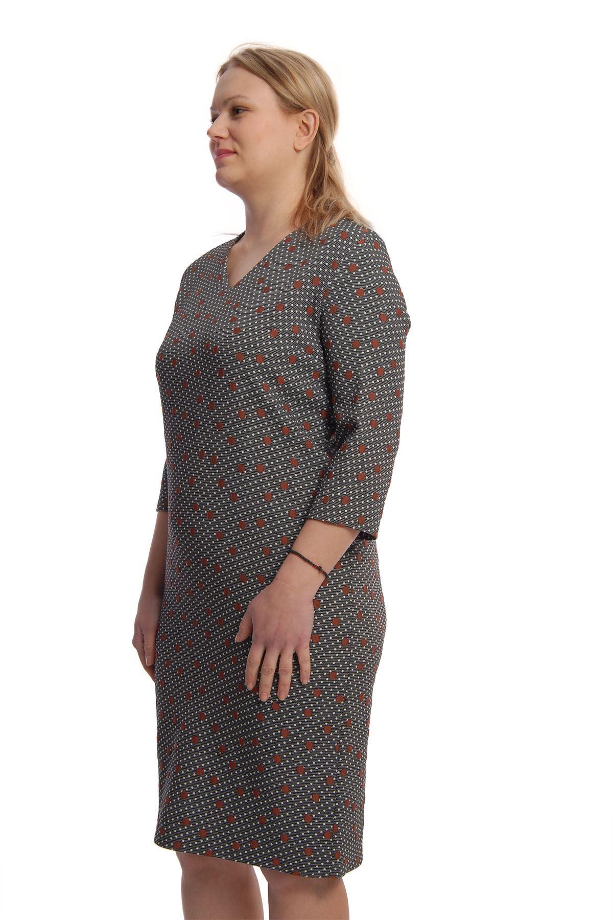 Bordo Puanlı Elbise H7-65839