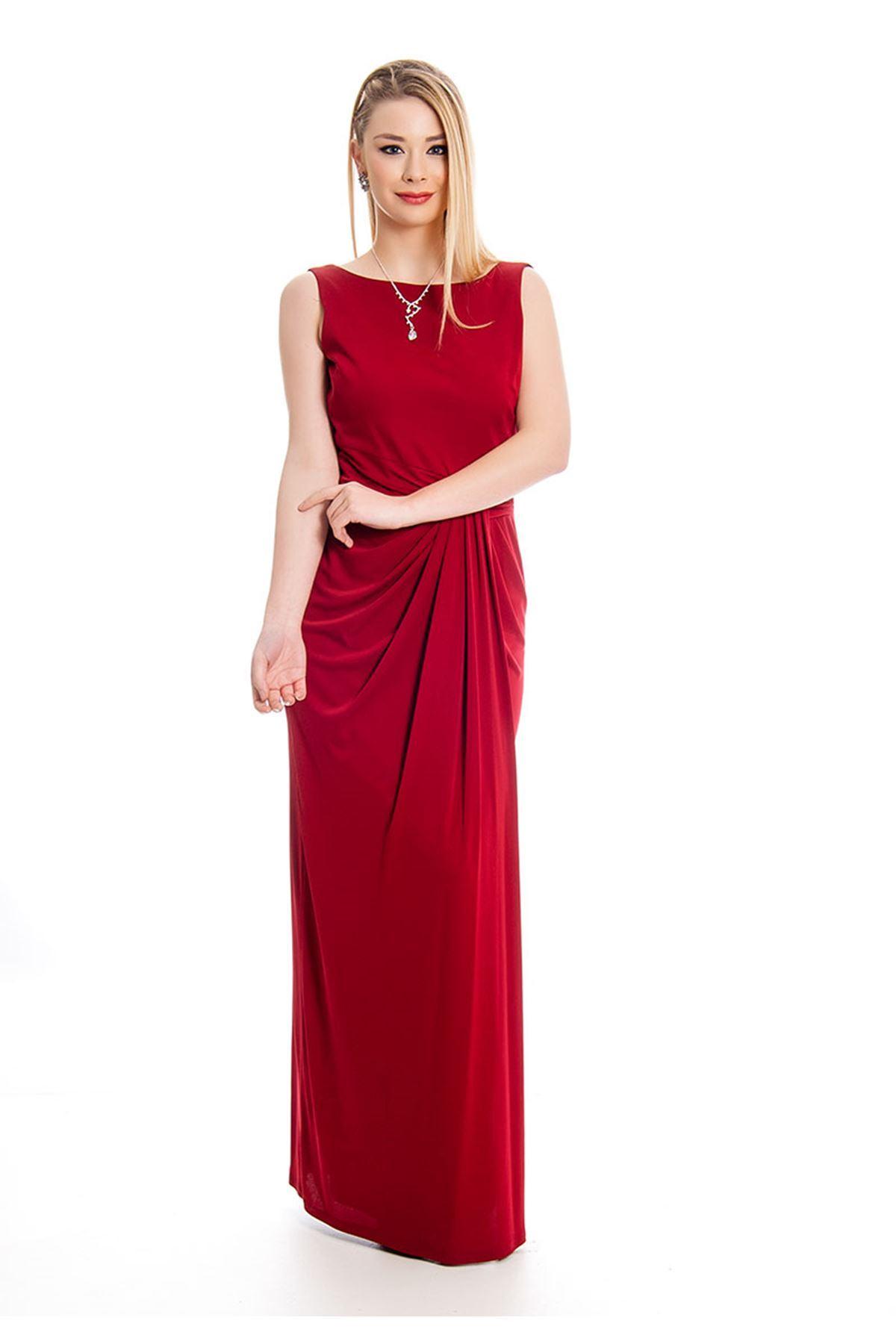 Bordo Sırt Dekolte Kadın Uzun Elbise J3-127573