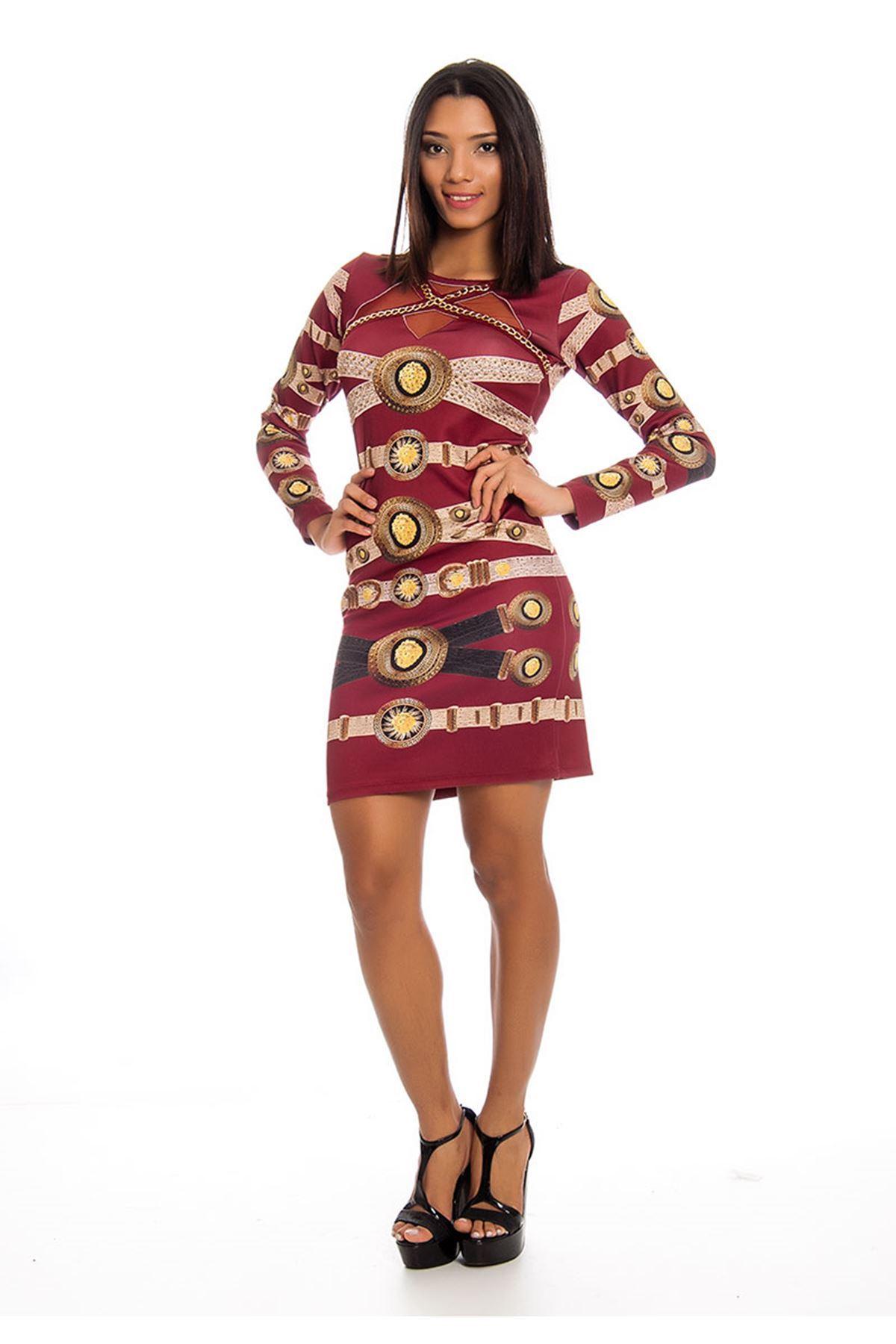 Bordo Desenli Dekolte Kadın Elbise J10-123856