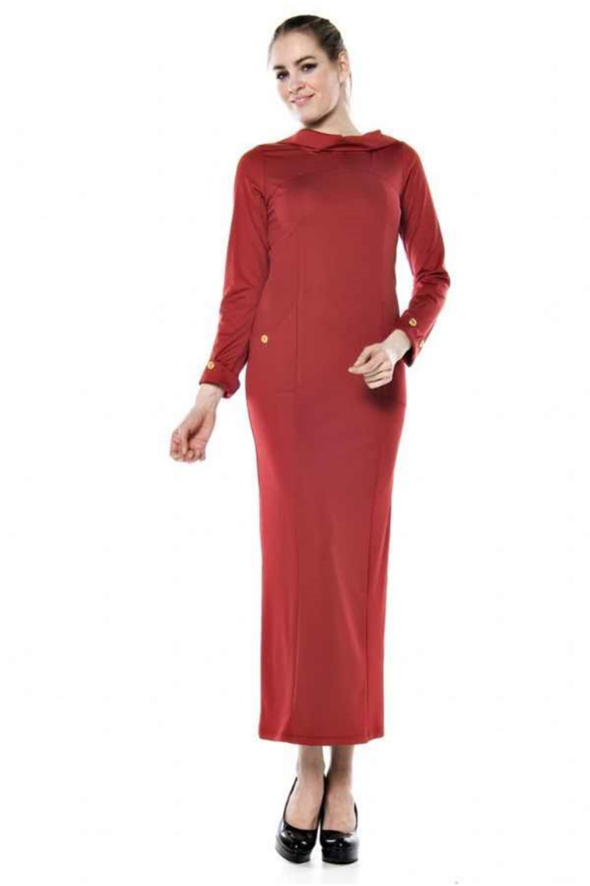 Bordo Uzun Elbise  F1-64925