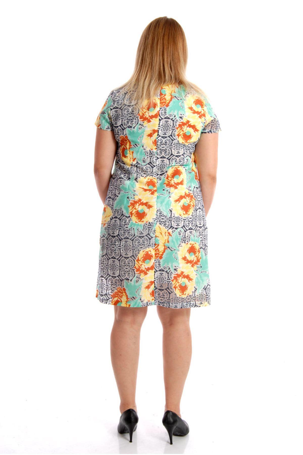 Büyük Beden  Desenli Kadın Elbise H12- 54452