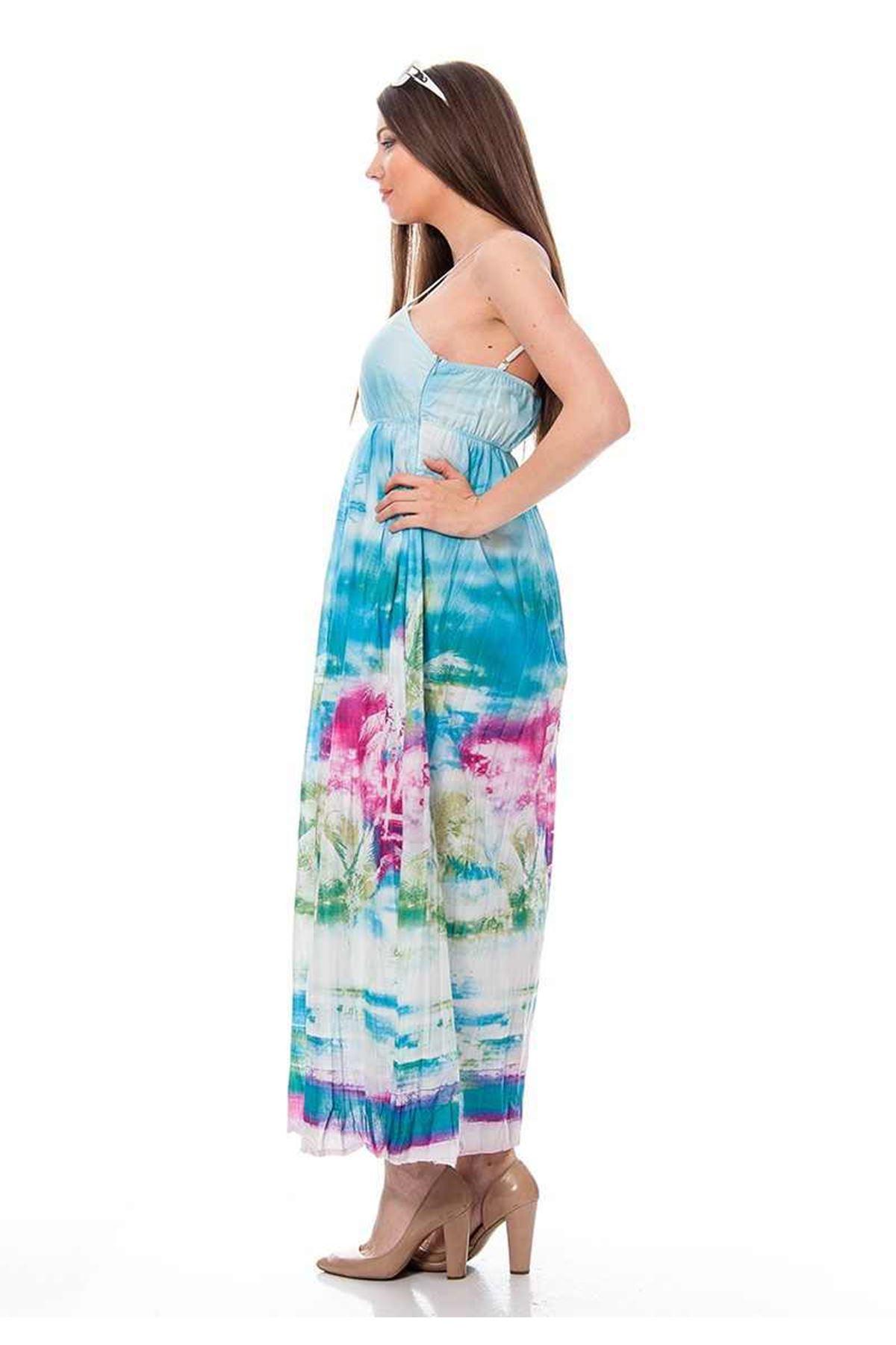 Buz Mavi Desenli Elbise H1-115784