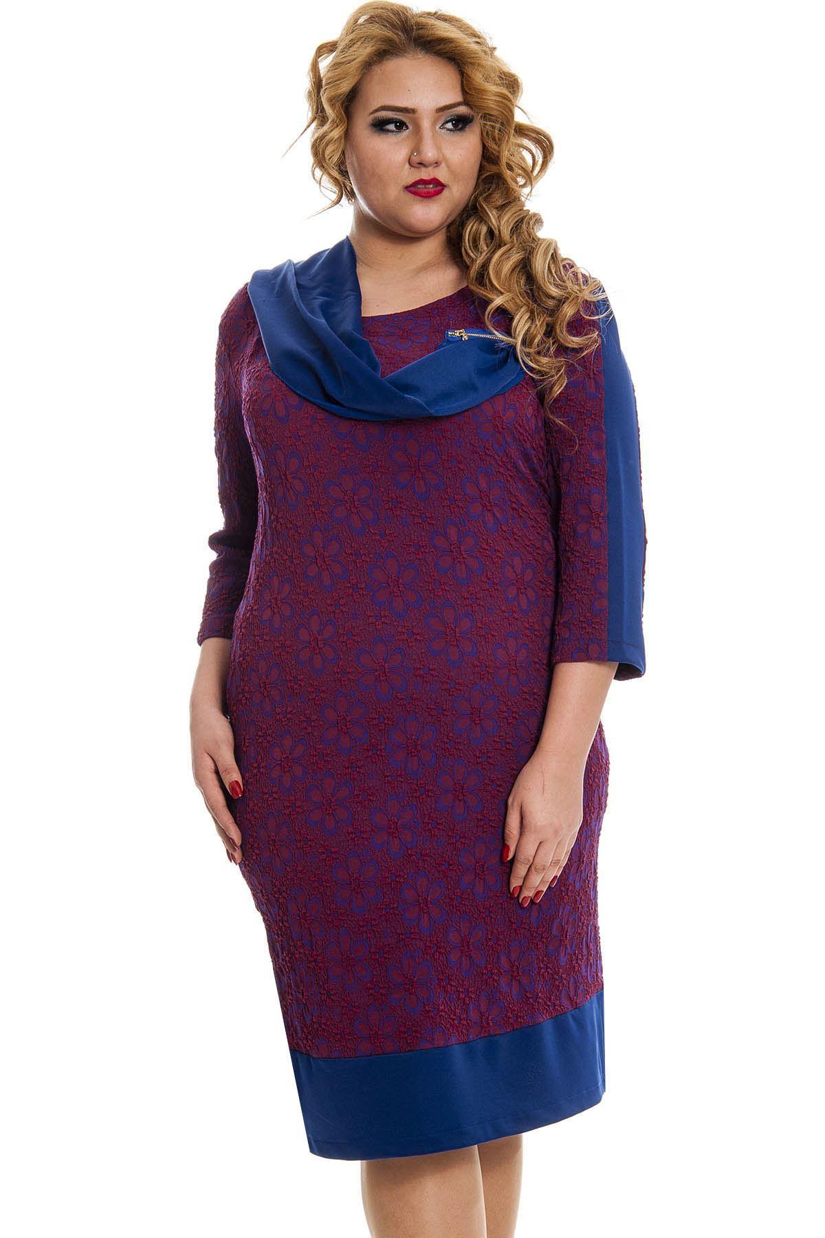 Büyük Beden Bordo Desenli Fularlı Kadın Elbise K11-131046