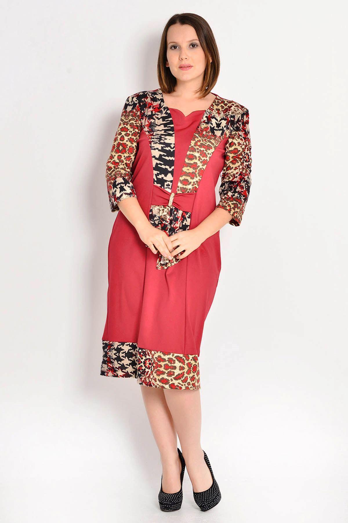 Büyük Beden Bordo Desenli Kadın Elbise G9-105875