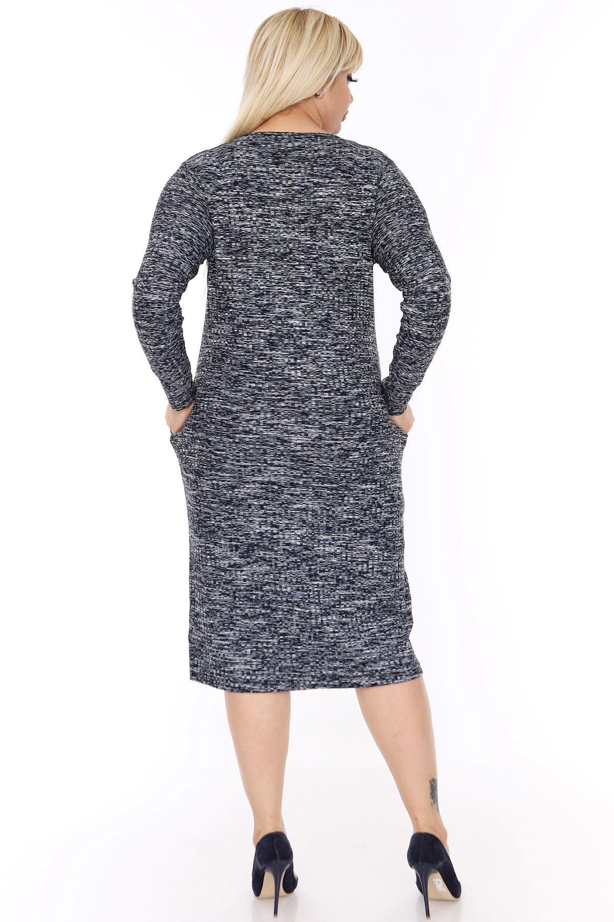 Büyük Beden Cepli Esnek Elbise 3C-0389