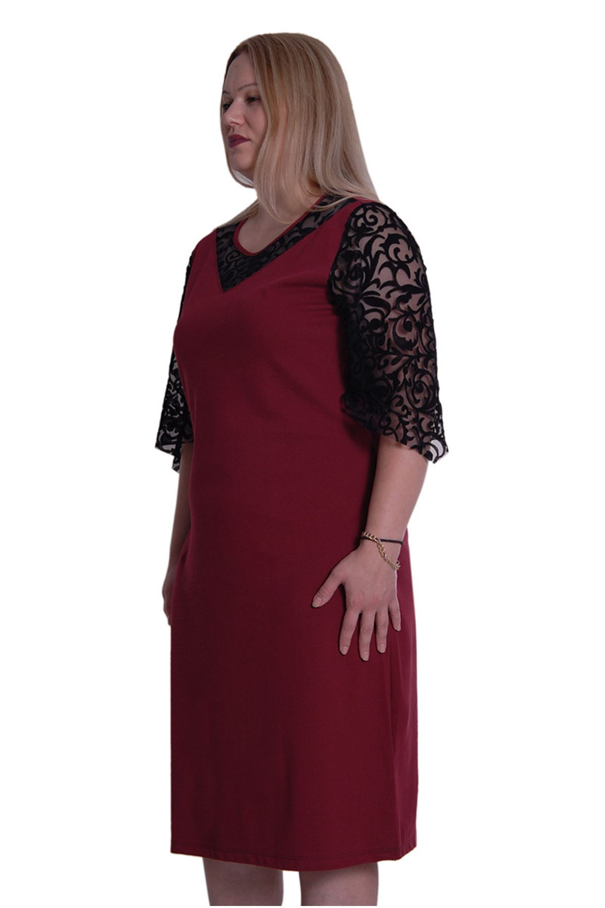 Büyük Beden Dantel Kollu Elbise 1E-0169