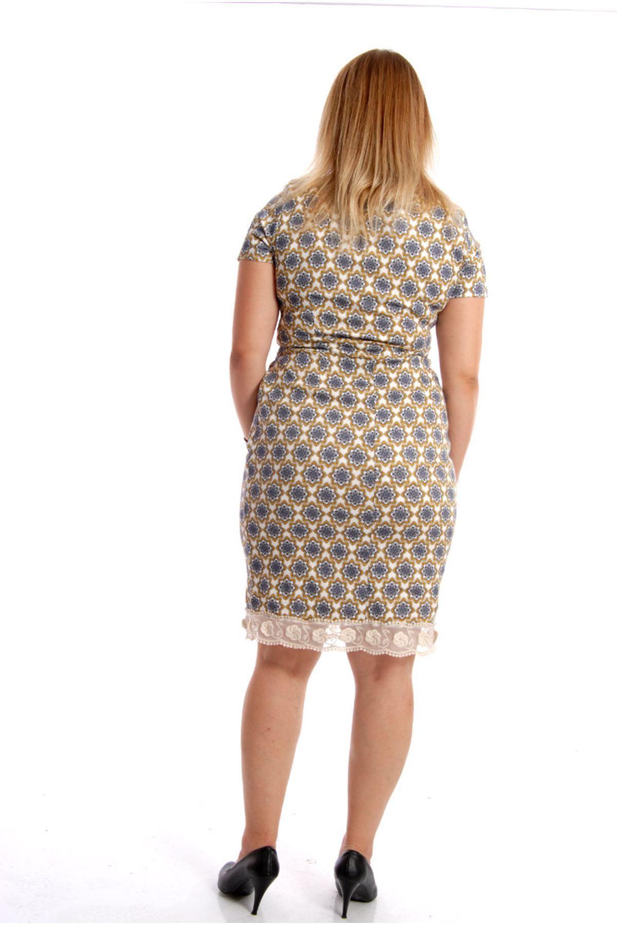 Büyük Beden Desenli Elbise H10-54427