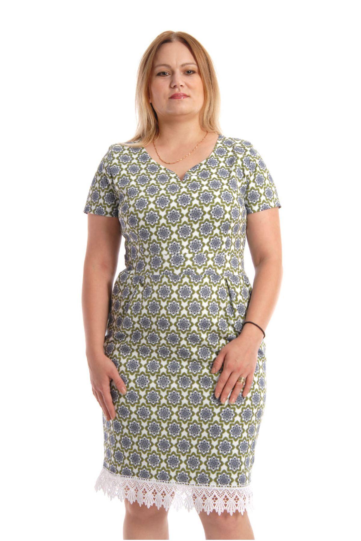 Büyük Beden Desenli Elbise K4-54397