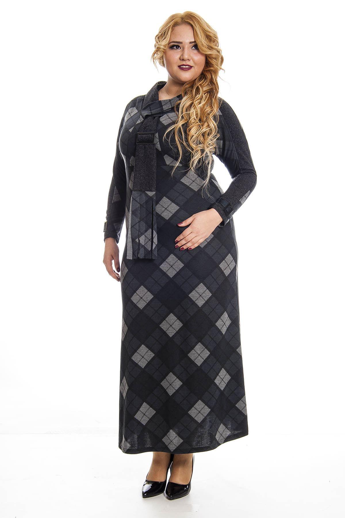 Büyük Beden Ekose Desenli Uzun Elbise F7-122894