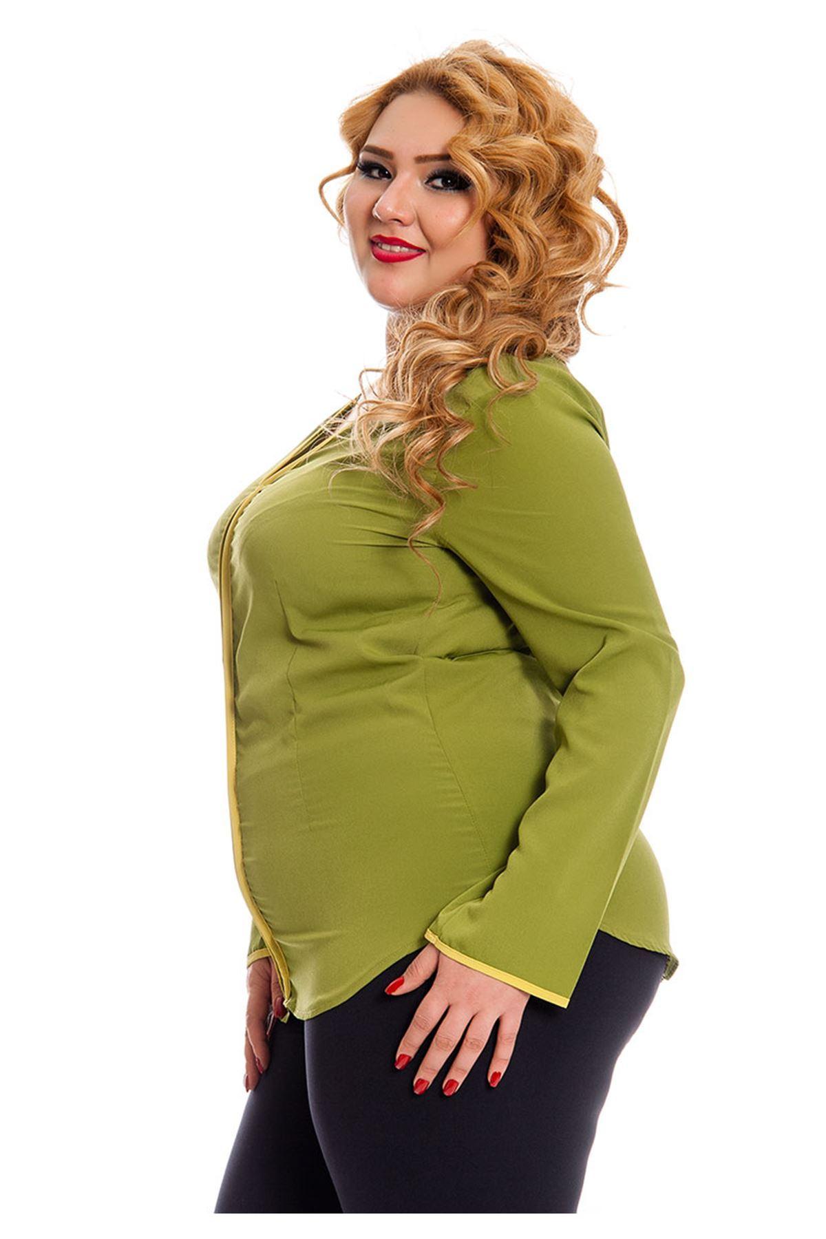 Büyük Beden Fıstık Yeşili Kadın Tunik G6-130942