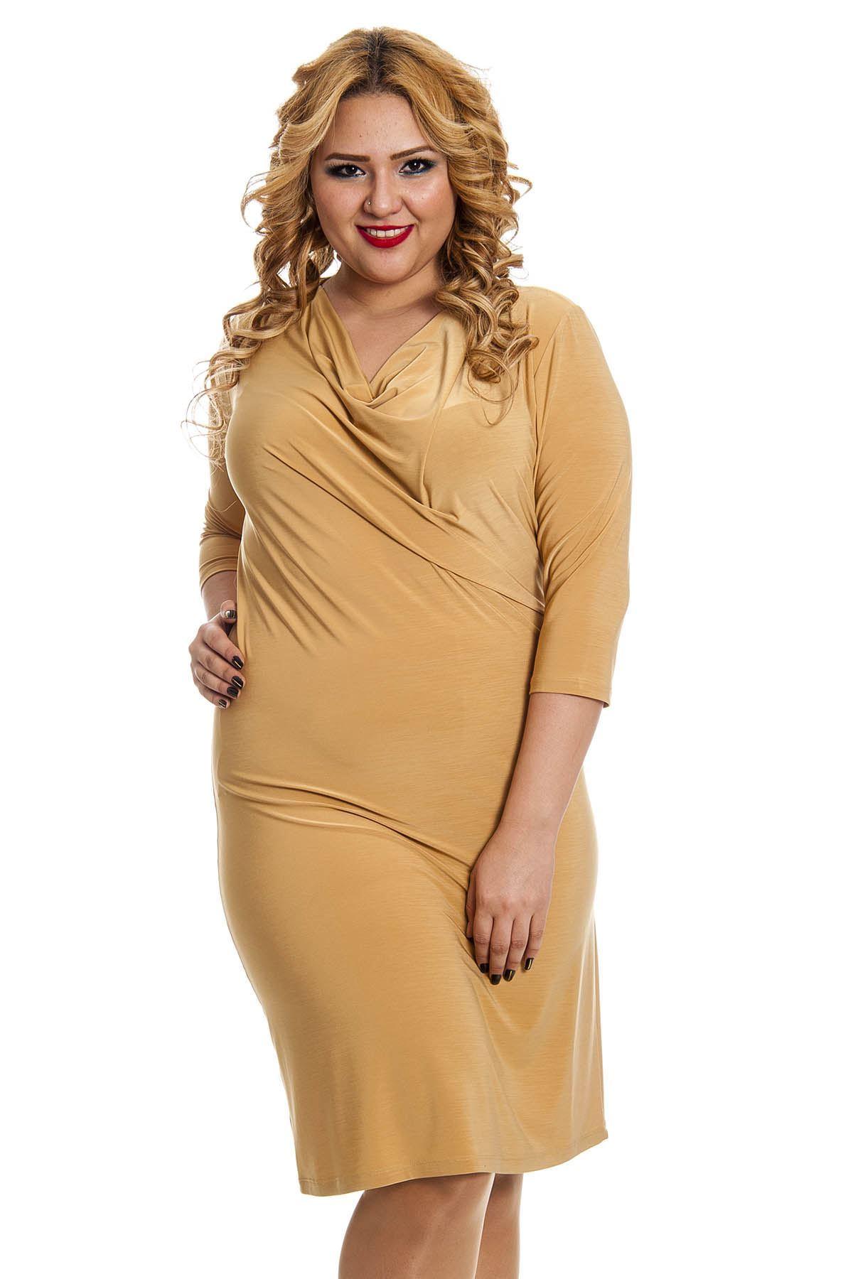 Büyük Beden Hardal Sarısı Degaje Yaka Kadın Elbise F11-128484
