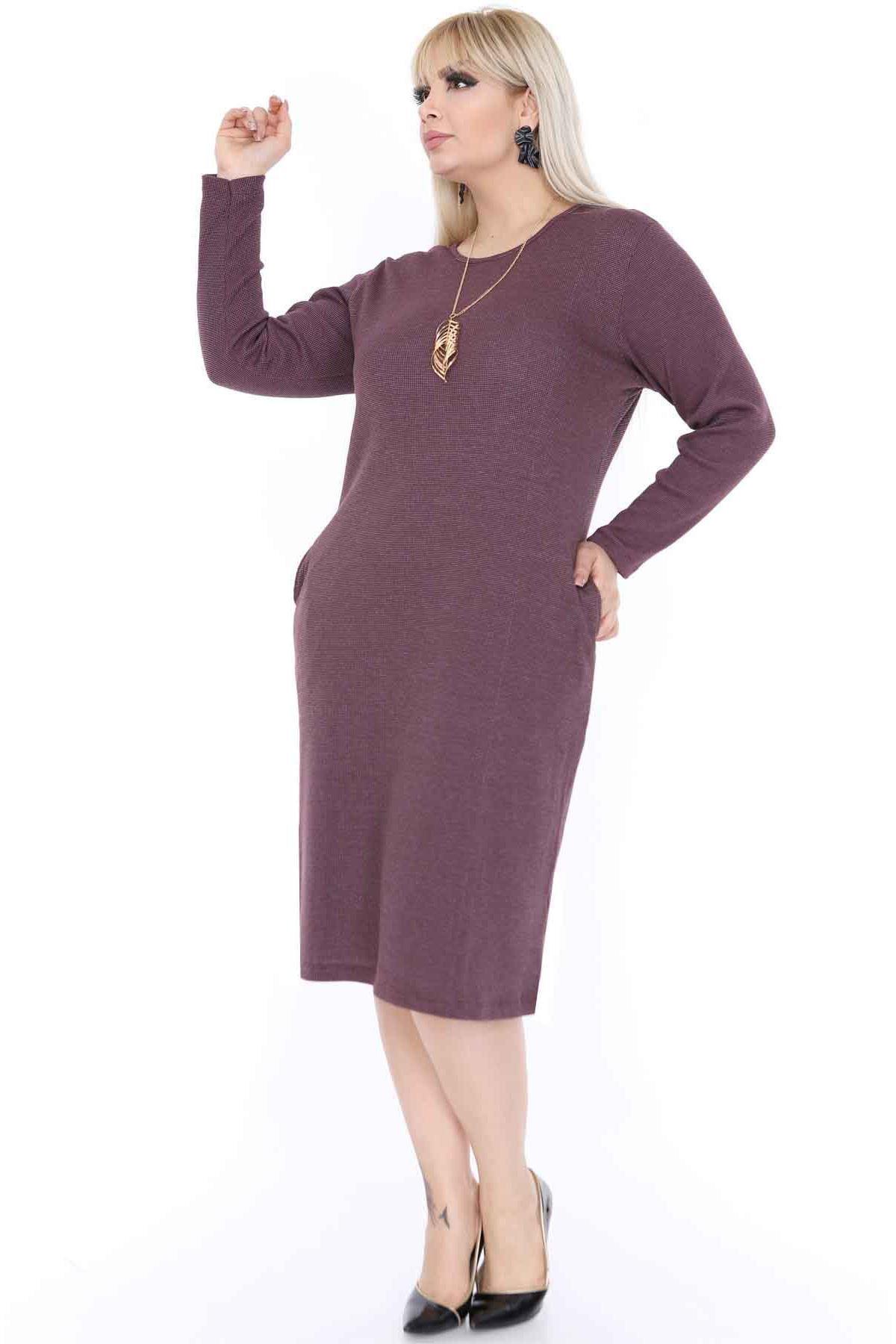 Büyük Beden Elbise Cepli 3D-0391
