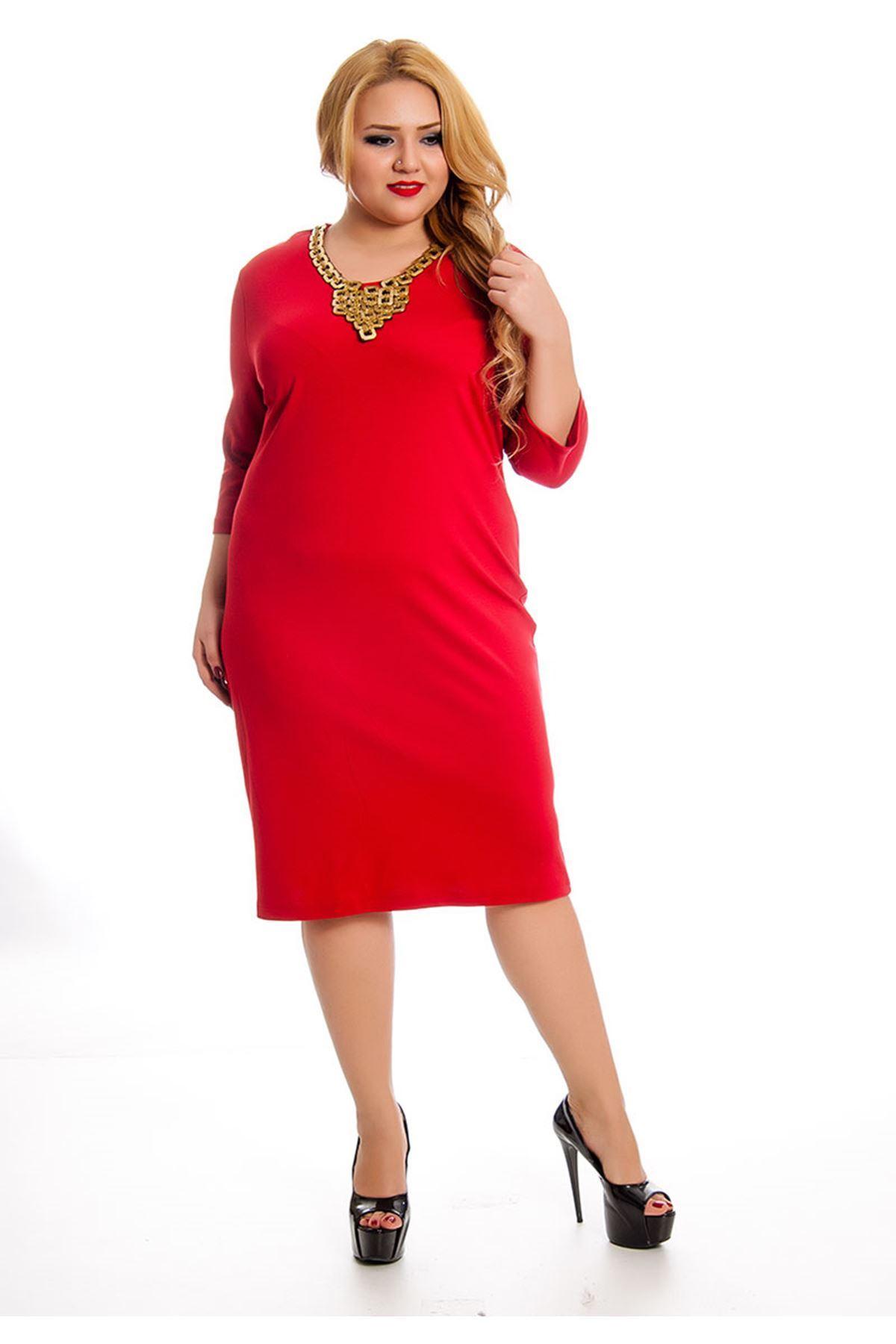 Büyük Beden Kırmızı Yaka Detaylı Kadın Elbise L9-127440