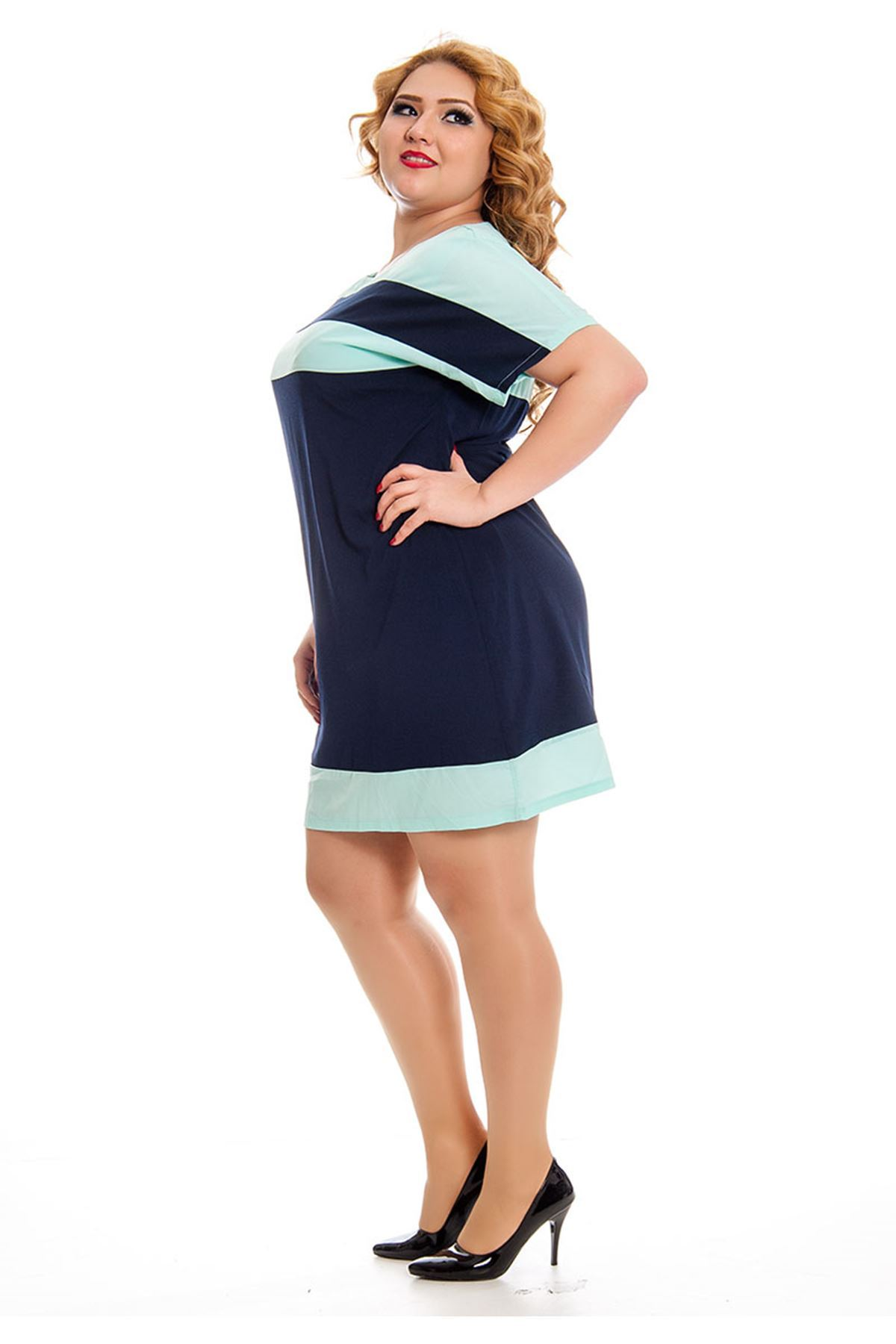 Büyük Beden İki Renk Kadın Elbise K11-130974
