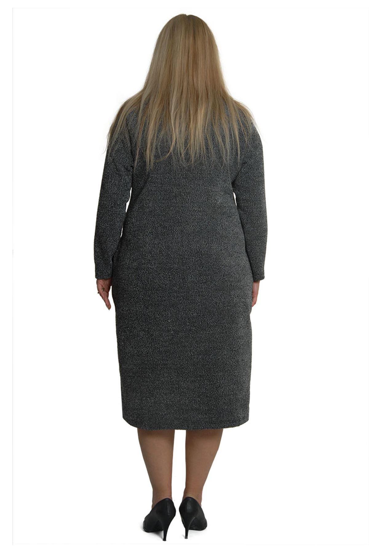 Büyük Beden Kışlık Cepli Elbise 3B-0382