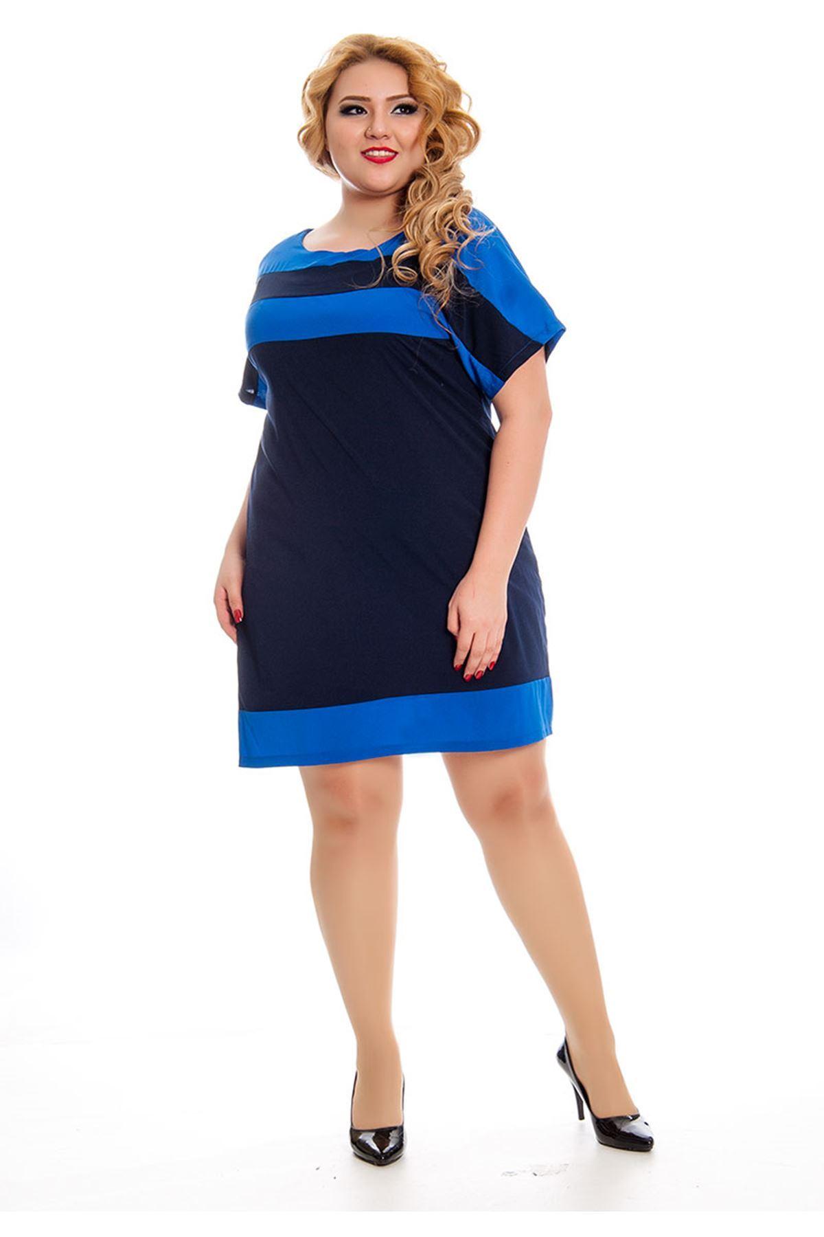 Büyük Beden İki Renk Kadın Elbise K11-131042