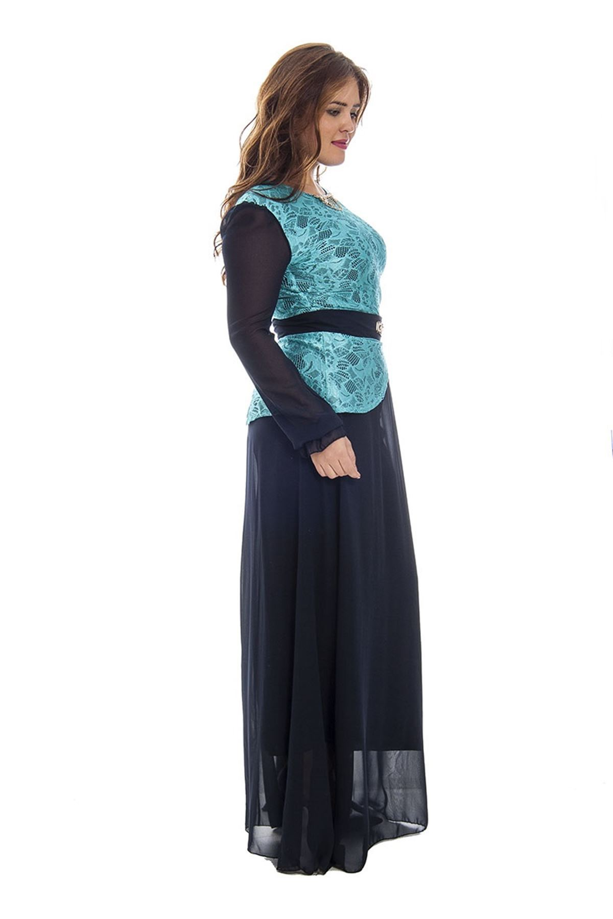 Büyük Beden Lacivert Dantel Detaylı Şifon Kadın Elbise F1-120691