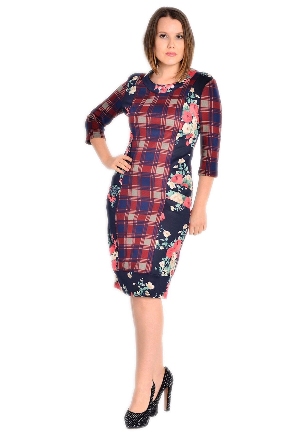 Büyük Beden Lacivert Çiçek Desenli Elbise H8-132598