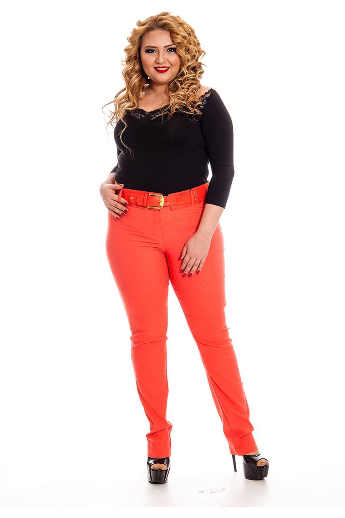 Büyük Beden Kırmızı Kadın Pantolon H1-130541
