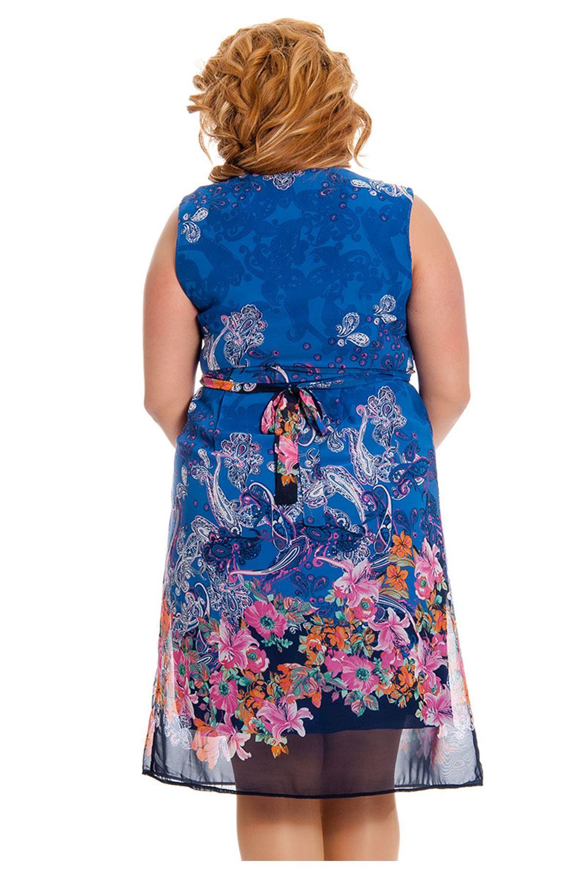 Büyük Beden Lacivert Desenli Bağcıklı Kadın Elbise I4-130802