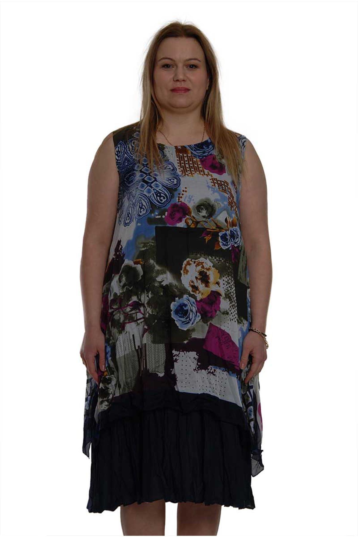 Büyük Beden Kolsuz Elbise 16B-1503