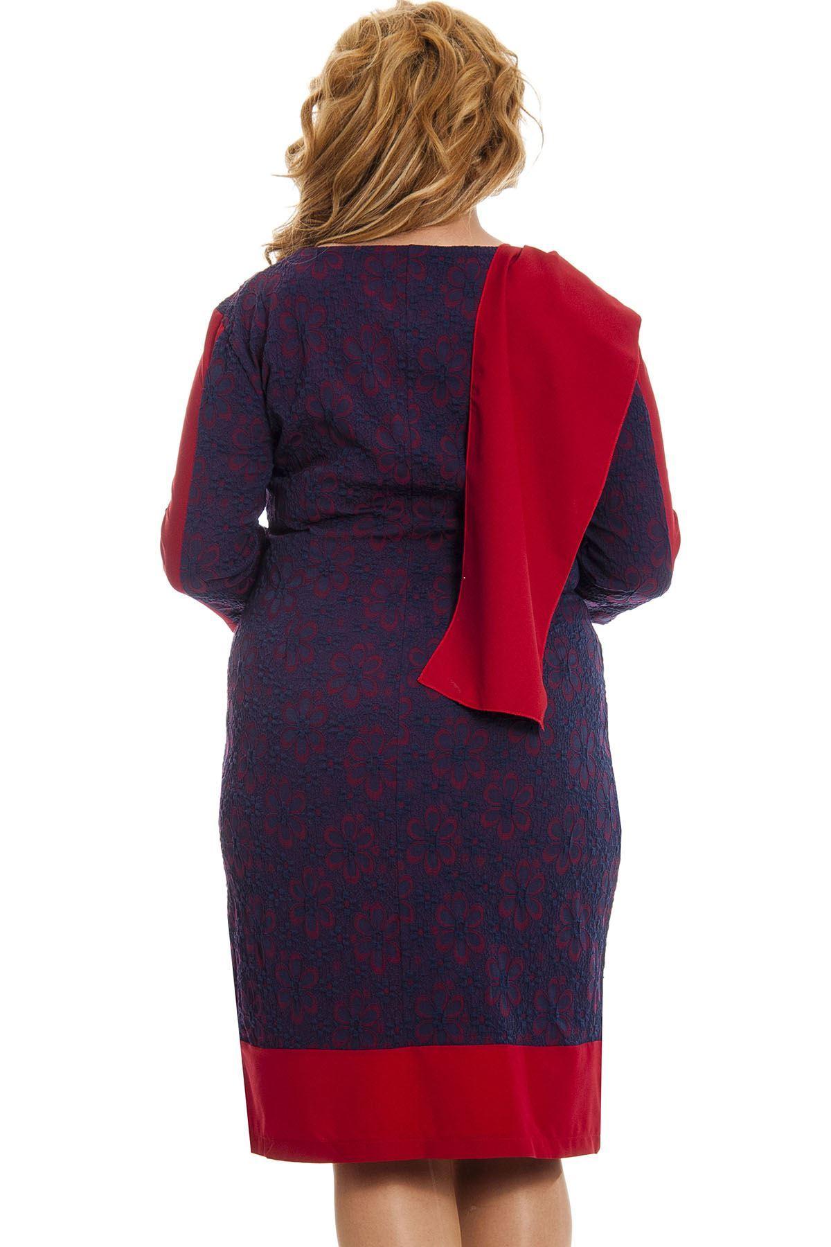 Büyük Beden Lacivert Desenli Fularlı Kadın Elbise K6-131144