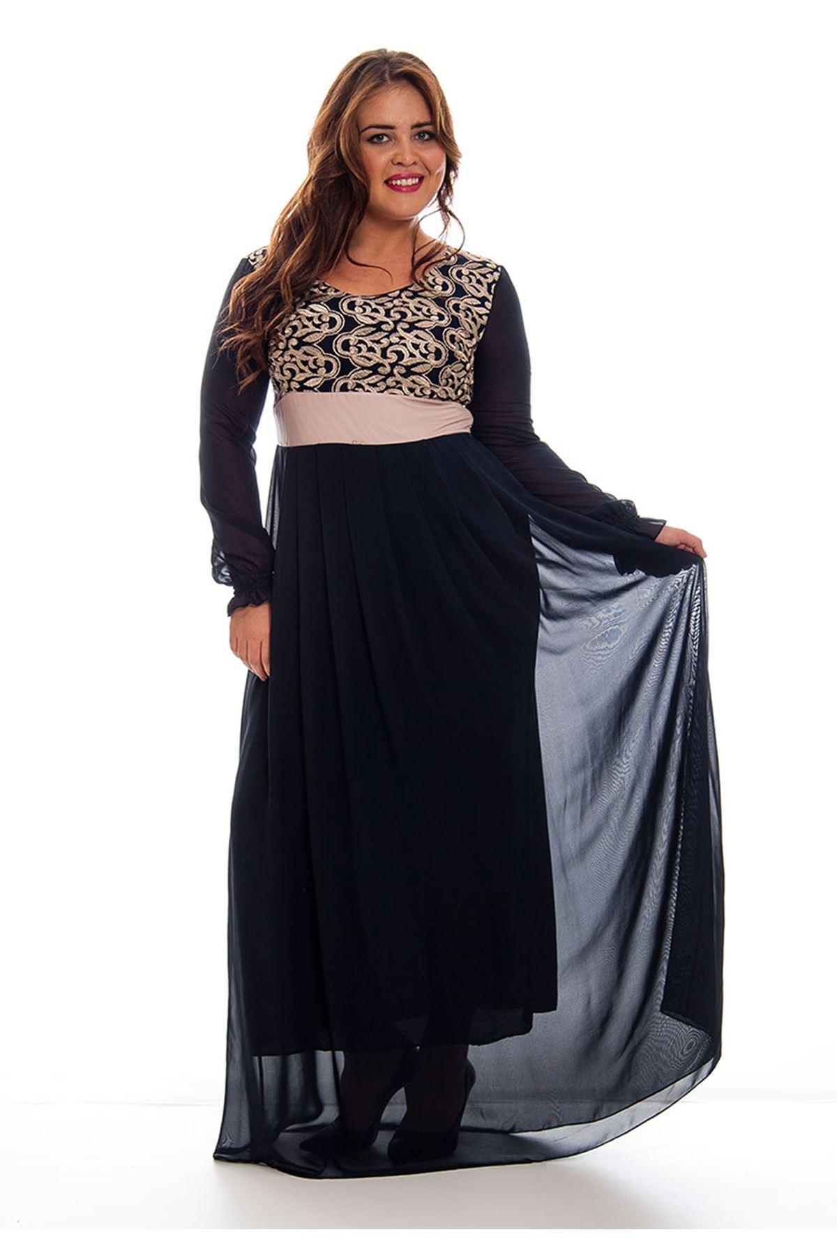 Büyük Beden Lacivert İşlemeli Şifon Kadın Elbise H8-120507
