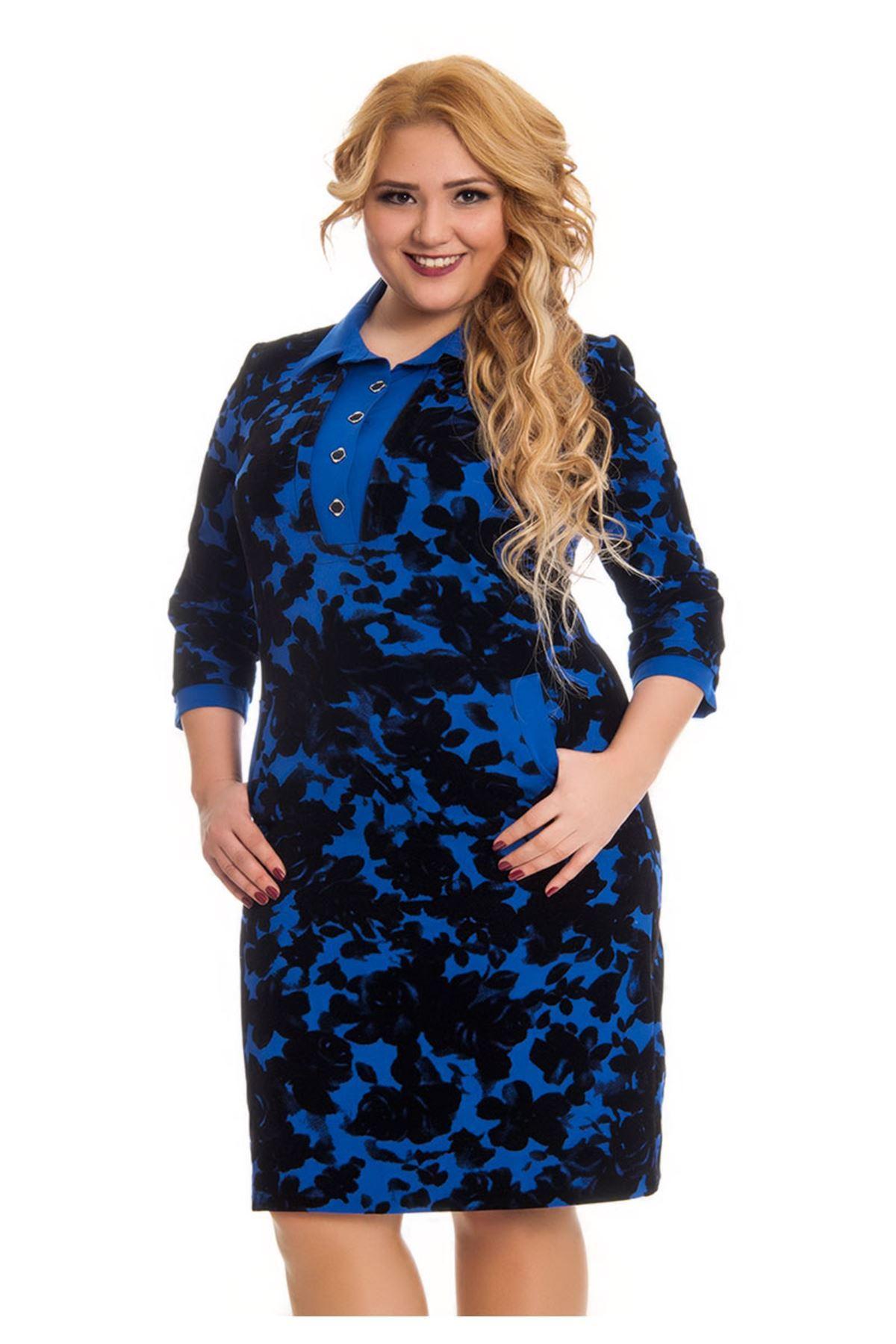 Büyük Beden Mavi Çiçek Desenli Kadın Elbise F11-122998