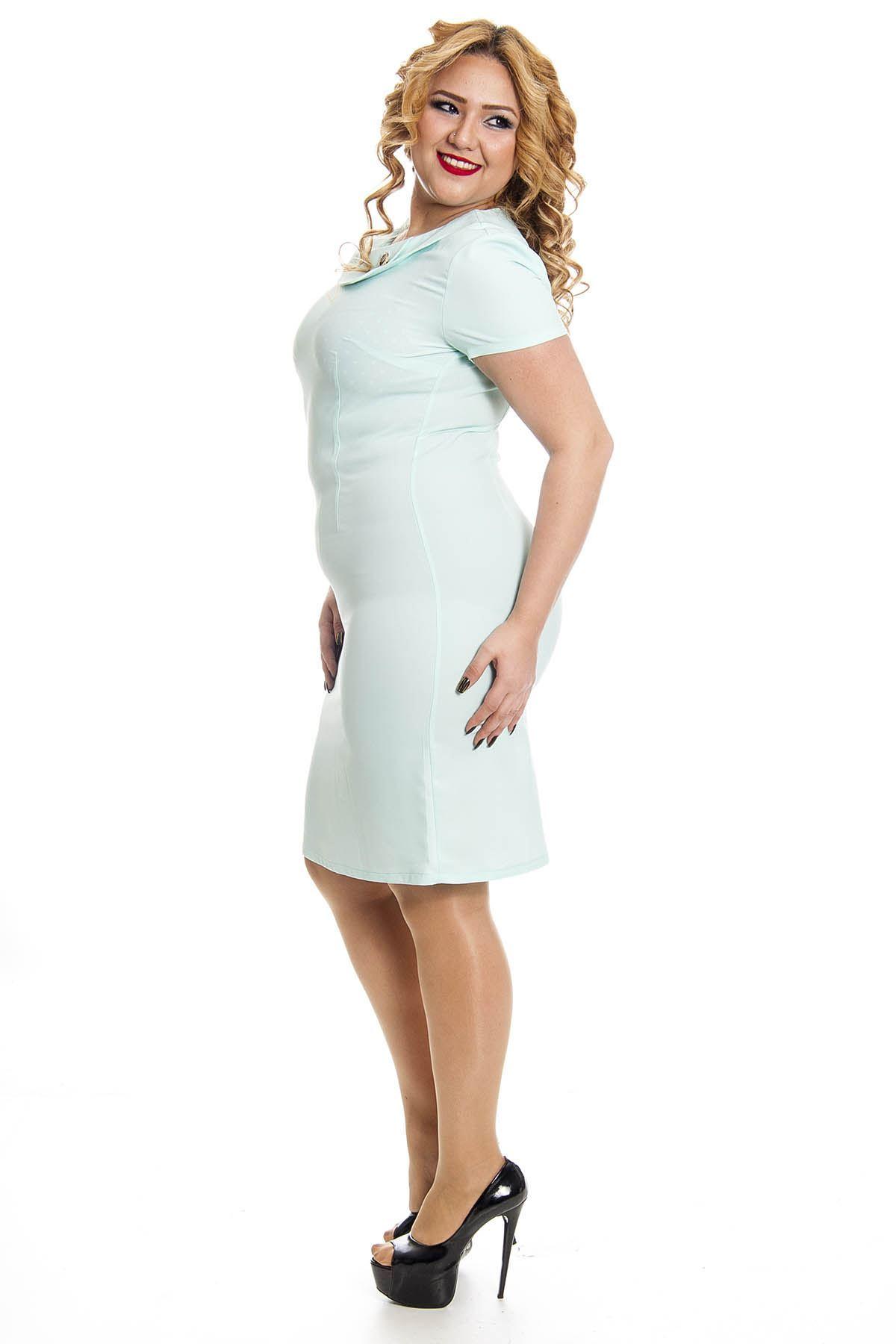 Büyük Beden Mint Yeşil Kadın Elbise K4-128258