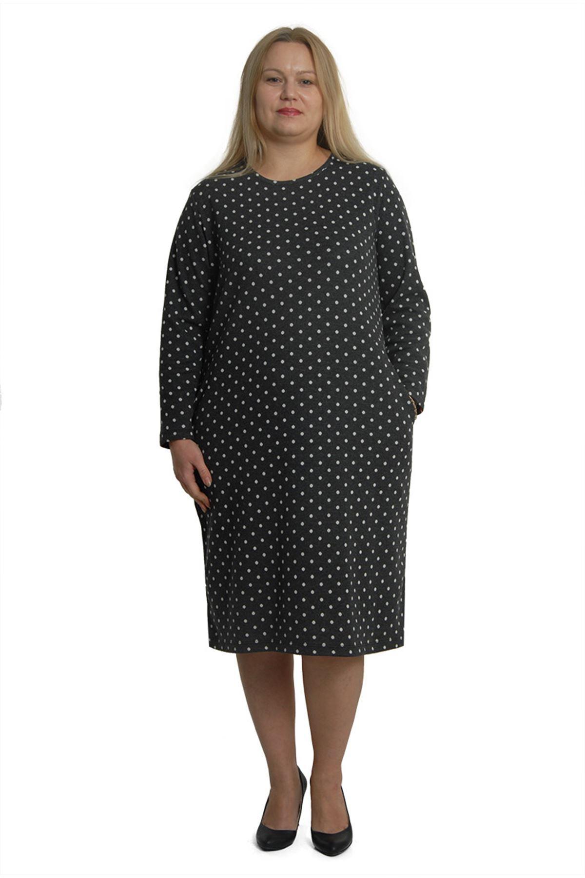 Büyük Beden Puanlı Elbise 3B-0383