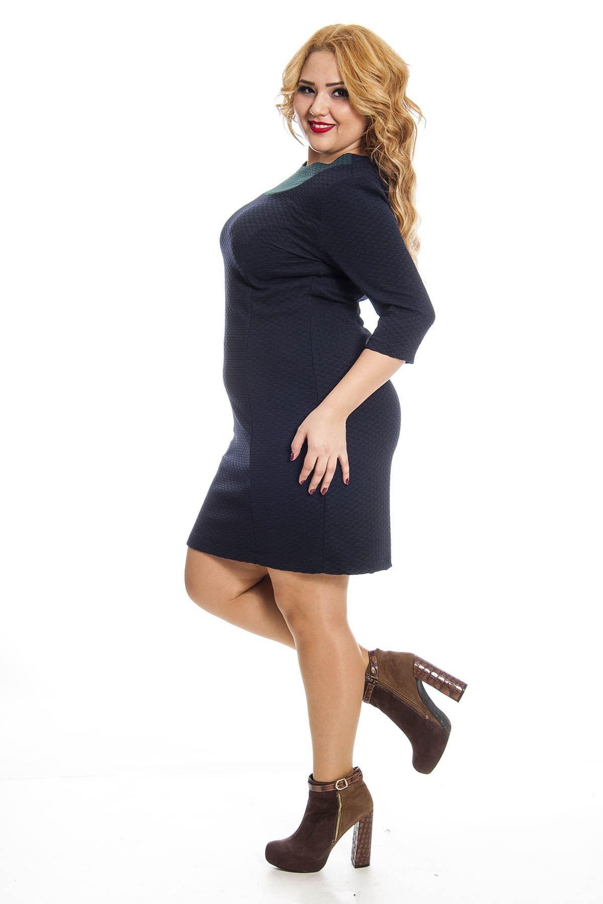 Büyük Beden Lacivert Kadın Elbise J1-123226