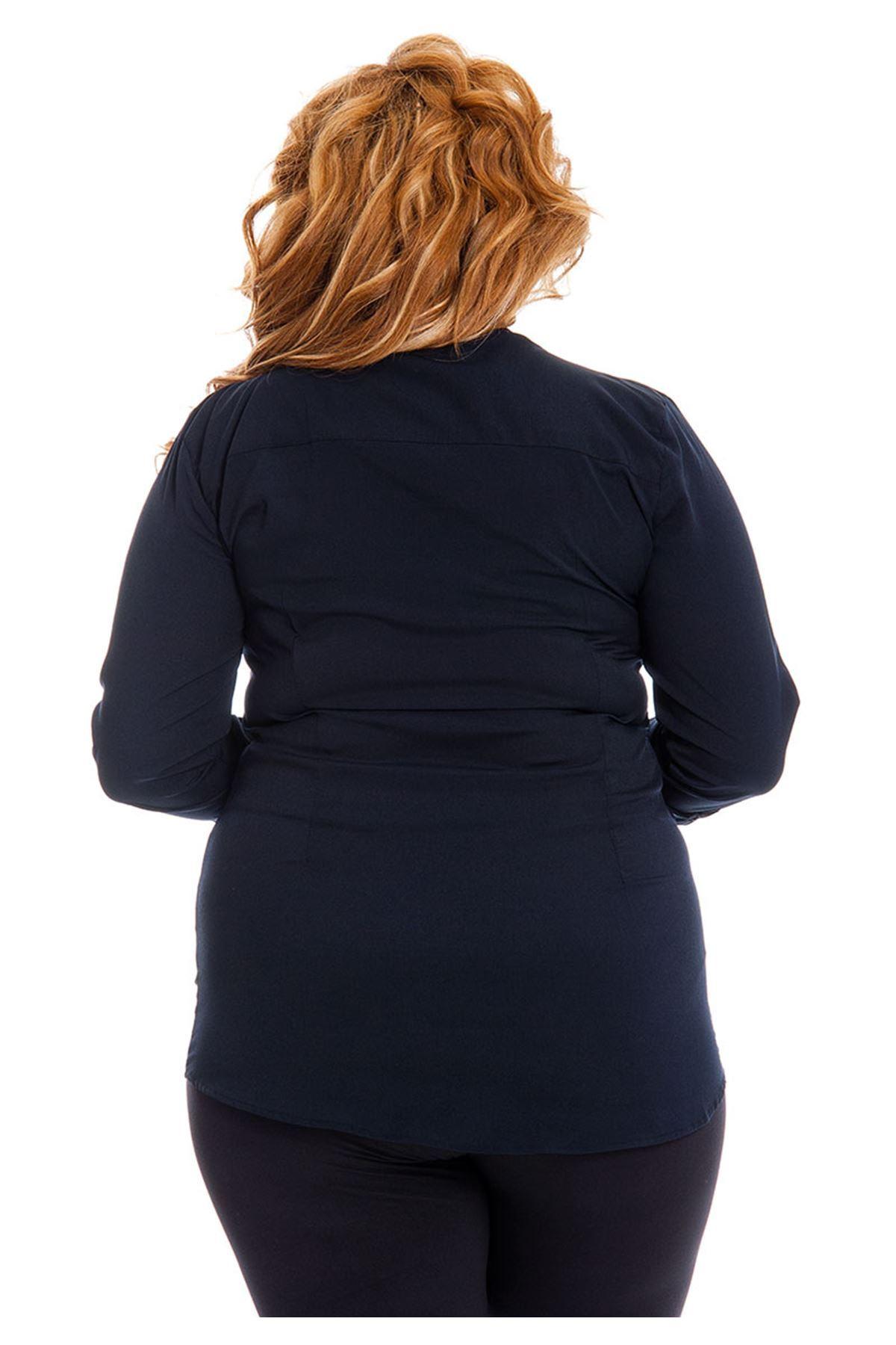 Büyük Beden Lacivert Kadın Tunik G6-130938