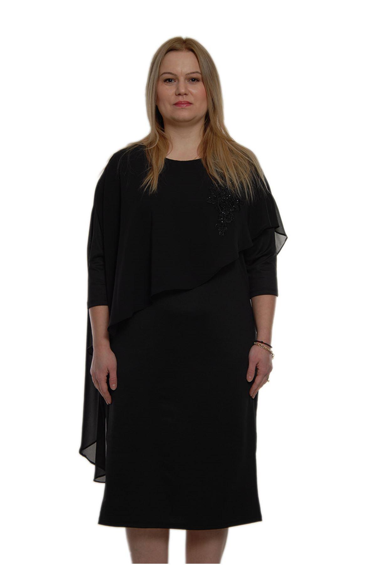 Büyük Beden Siyah Abiye Elbise K2-69158