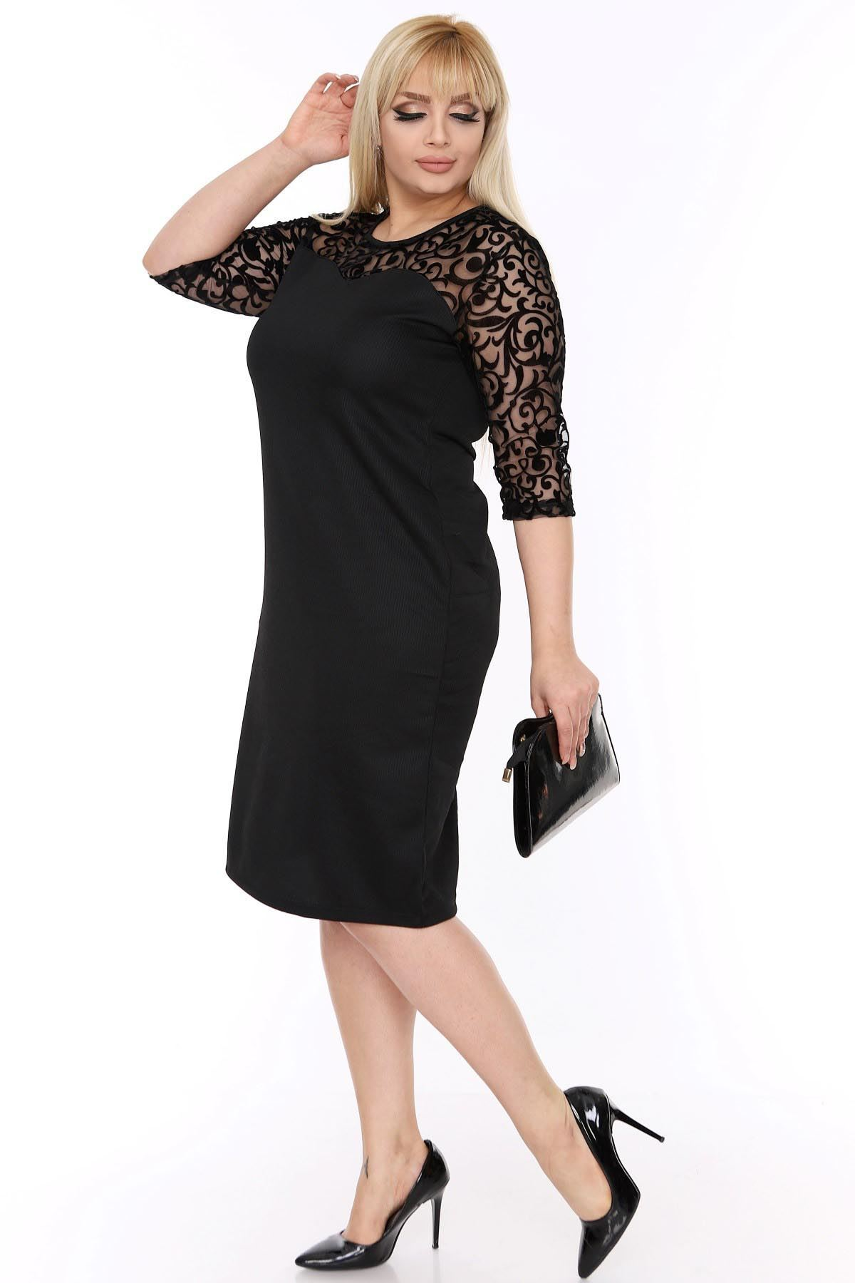 Büyük Beden Siyah Elbise 6C-69323