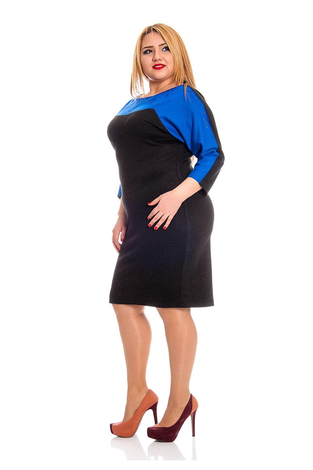 Büyük Beden Siyah Taş Detaylı Kadın Elbise F3-132538