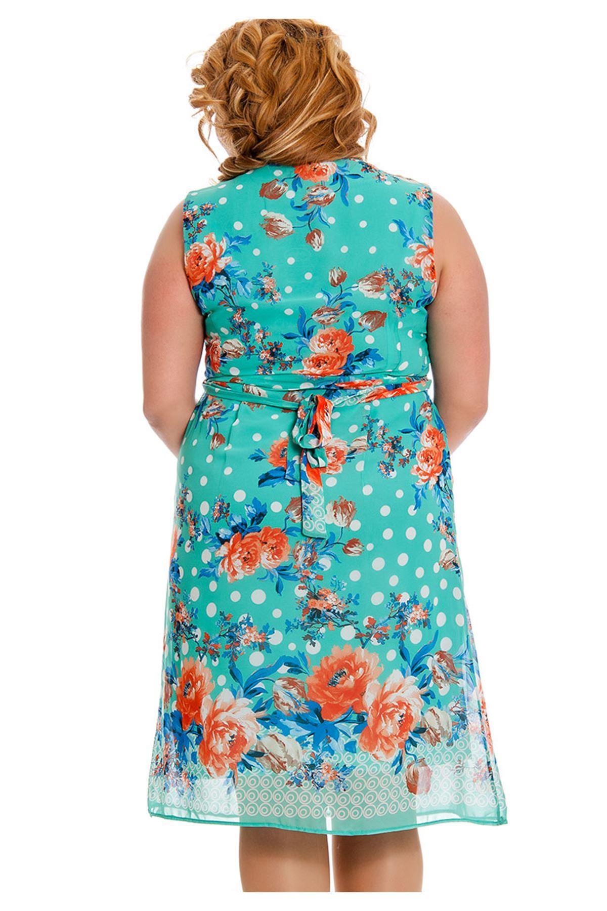 Büyük Beden Yeşil Desenli Bağcıklı Kadın Elbise I4-130806