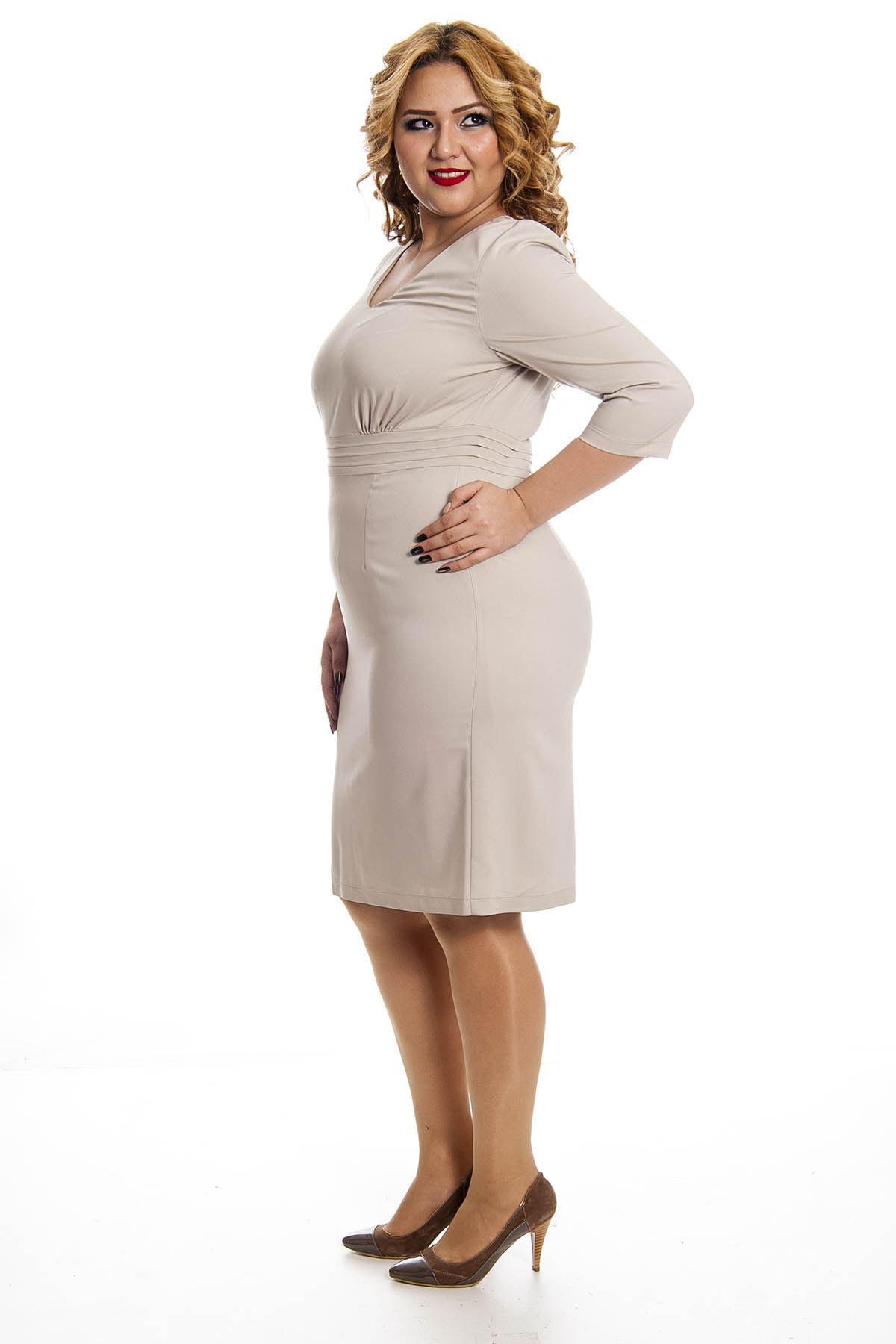 Büyük Beden Vizon Kadın Elbise F11-128352