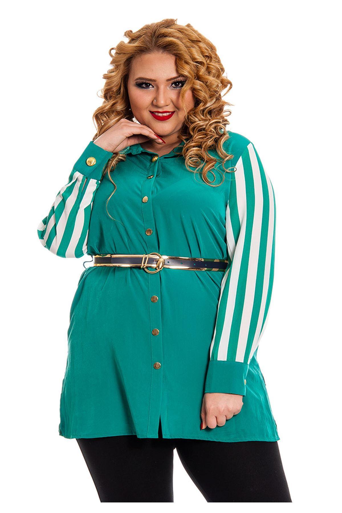 Büyük Beden Yeşil Beyaz Çizgili Kadın Tunik H7-130537