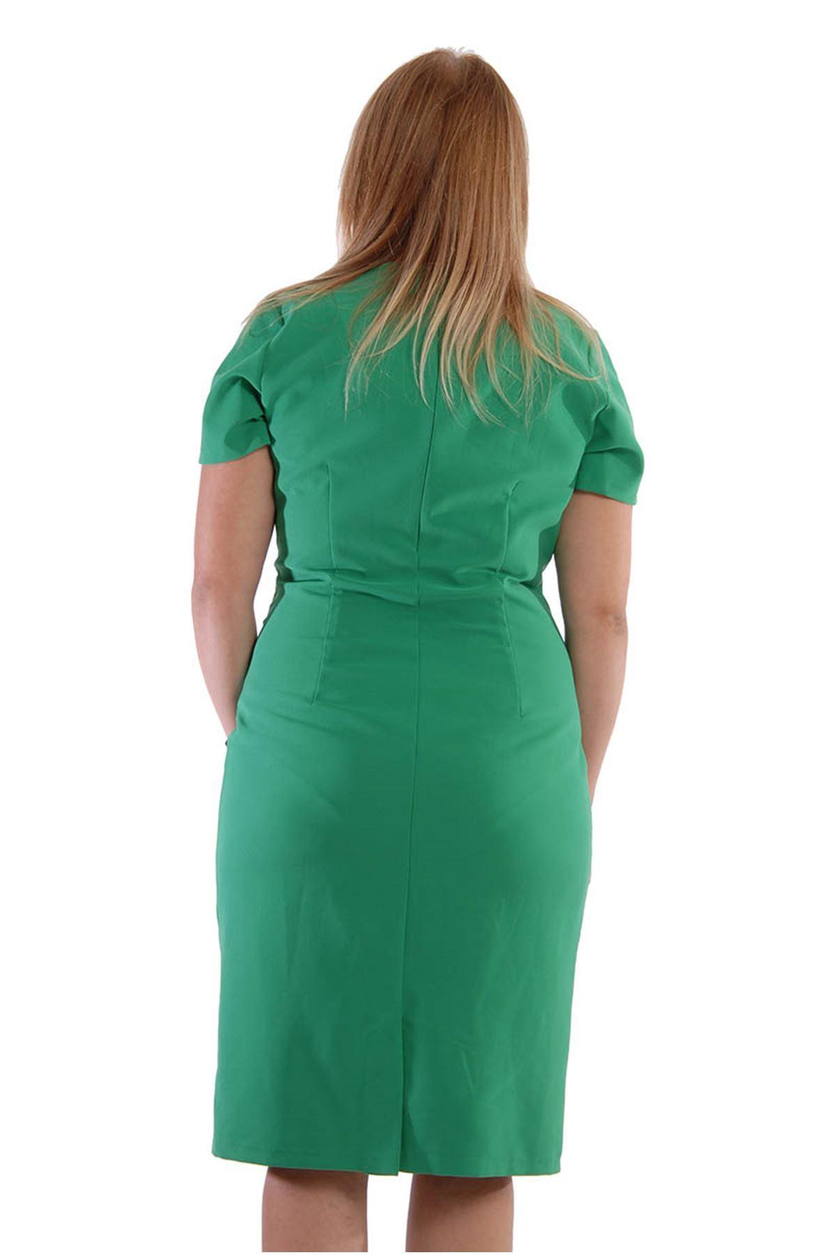 Büyük Beden Yeşil Elbise J3-52799