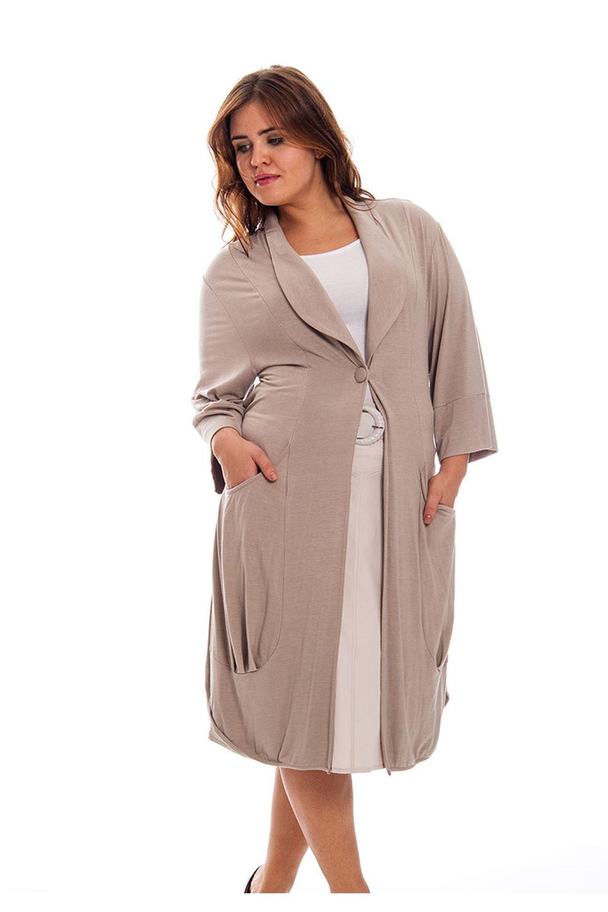 Büyük Beden Vizon Uzun Kadın Tunik G8-121130