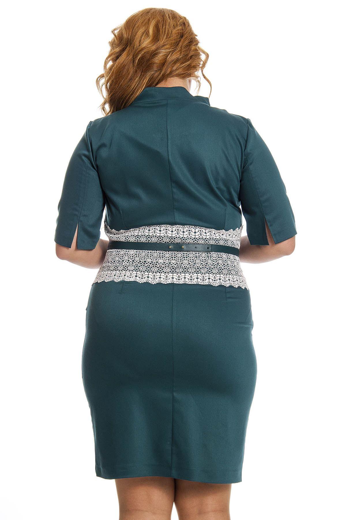 Büyük Beden Yeşil Dantel Detaylı Kadın Elbise G1-123038